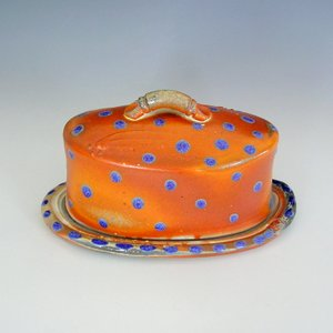 Stoneware Butterdish Blue dots