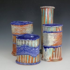 Pottery vases stripes