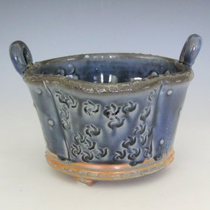 Pottery Serving Basket Blue