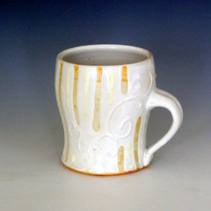 Soda fired mug white stoneware
